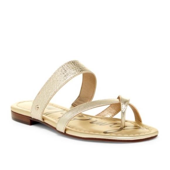 7e9e2f87dd8a Sam Edelman Bernice Gold Leather Sandal